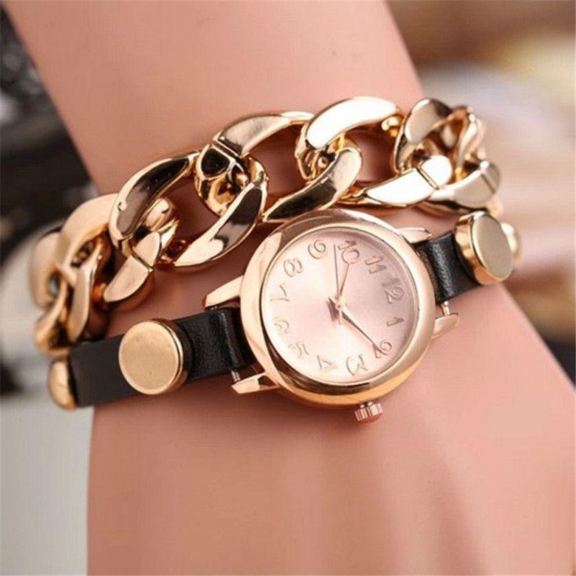 3849070aea5 Dropshipping 1PC Punk Women Gold Dial Leather Chain Wrap Analog Quartz  Wrist Watch Bracelet Z509