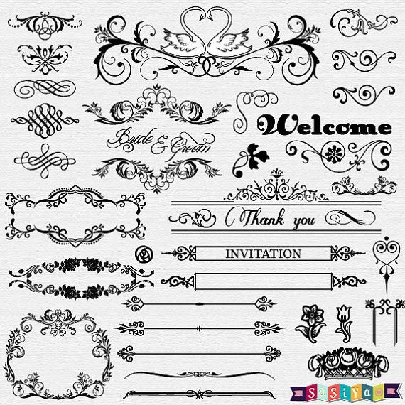 free wedding card white designs clipart