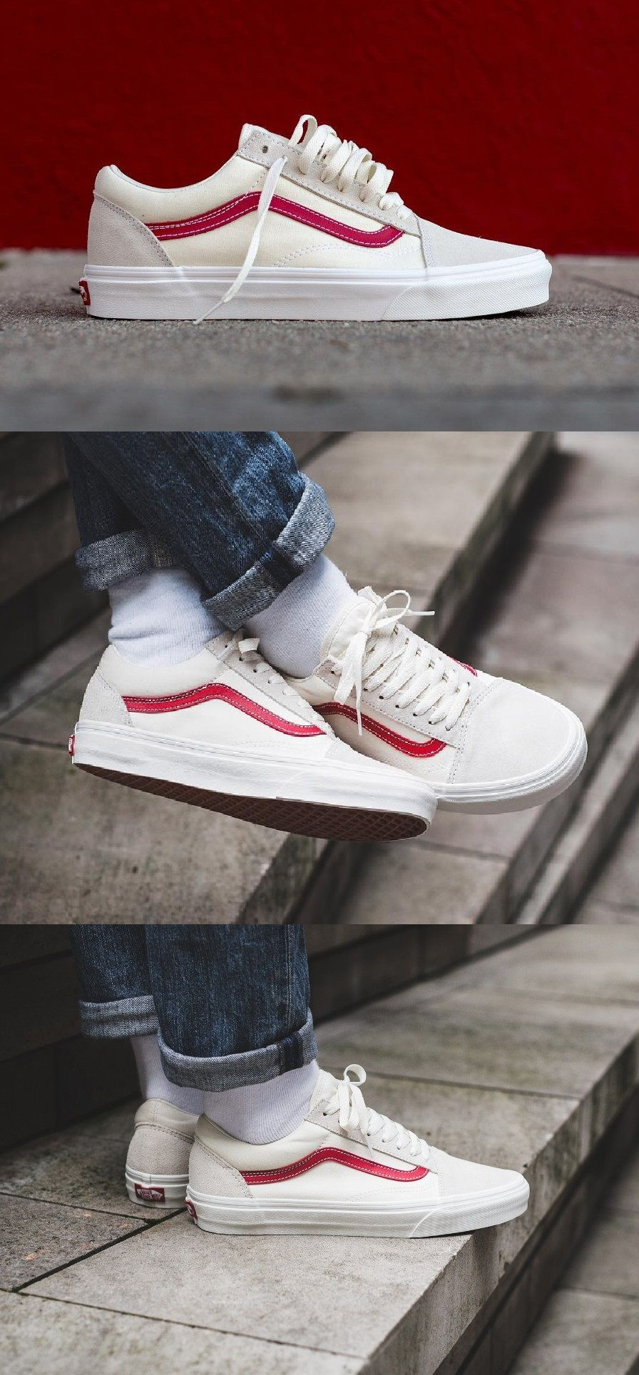 Vans UA OLD SKOOL - Zapatillas - vintage white/rococco red