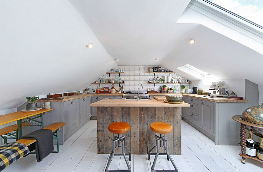 Gorgeous loft kitchen with industrial style and a large skylight [Design: All & Nxthing]