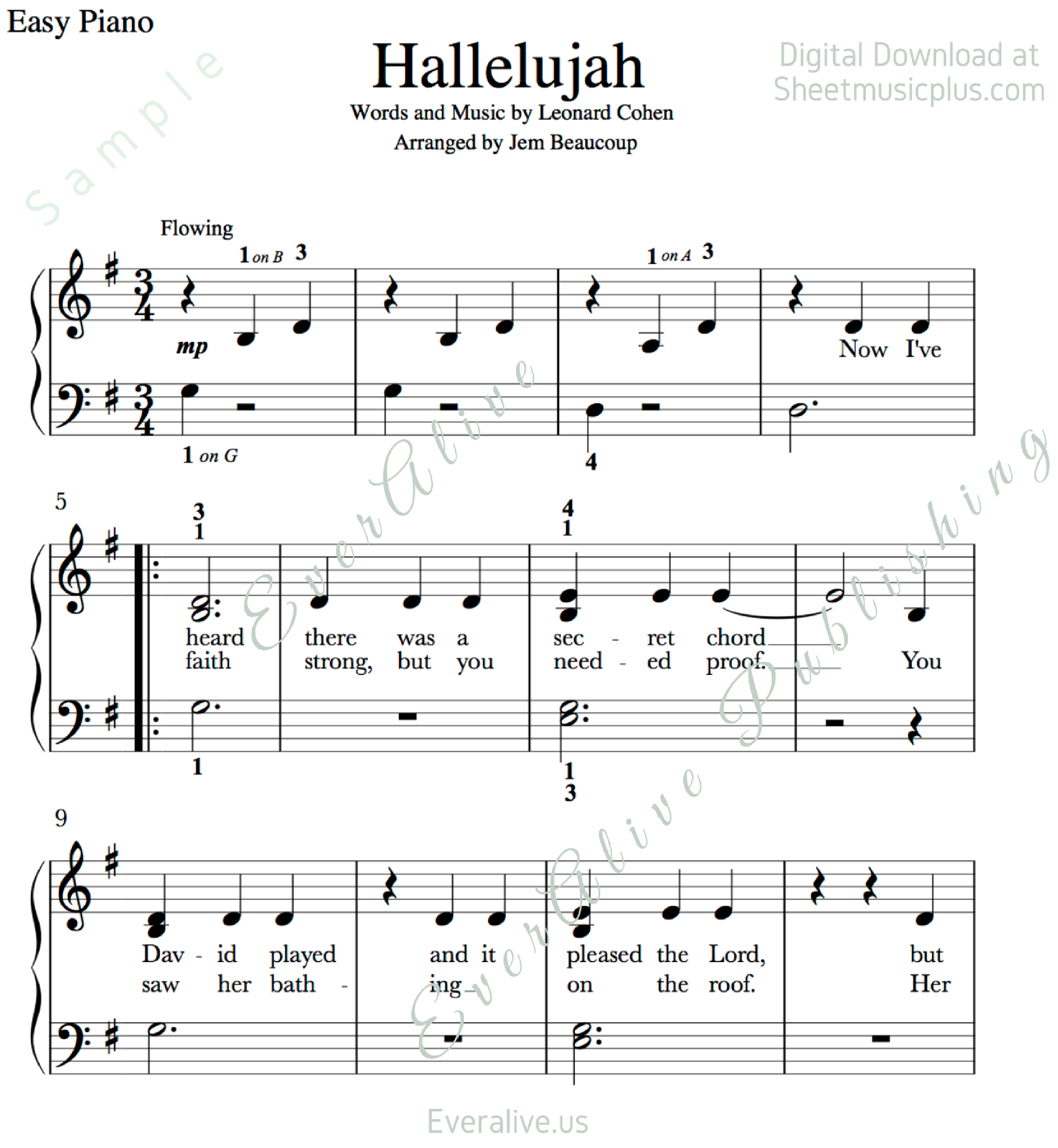 Easy Piano Sheet Music With: Print And Download. Hallelujah Easy Piano Music. Leonard