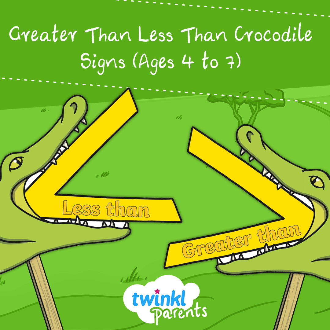 Greater Than Less Than Crocodile Signs Ages 4