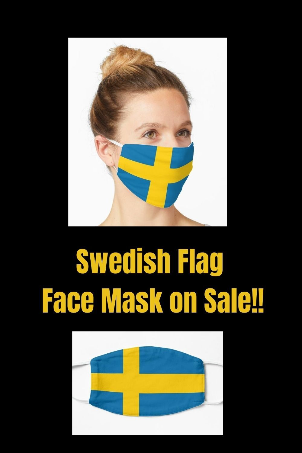 Swedish Flag Country Mask By Aj Liber In 2020 Flag Face Funny Face Mask Swedish Flag
