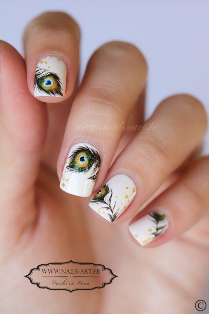 Nail Art 325 2   Nail art   Pinterest   Feather nails, Feather nail ...