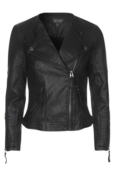 Free shipping and returns on Topshop 'Polly' Faux Leather Biker Jacket at Nordstrom.com. Ribbed sleeve panels and exposed silvertone hardware further the sleek moto vibe of an asymmetrical cropped jacket fashioned from soft faux leather.