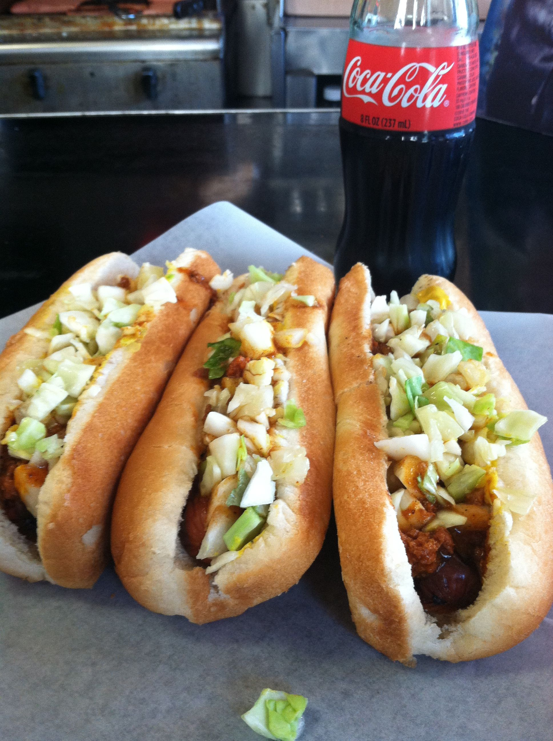 National Chili Dog Day called for a trip to Roast Grill in downtown Raleigh. No ketchup, no fries, no menu. Just great hot dogs and glass-bottled Cokes. And no mayo in the slaw!