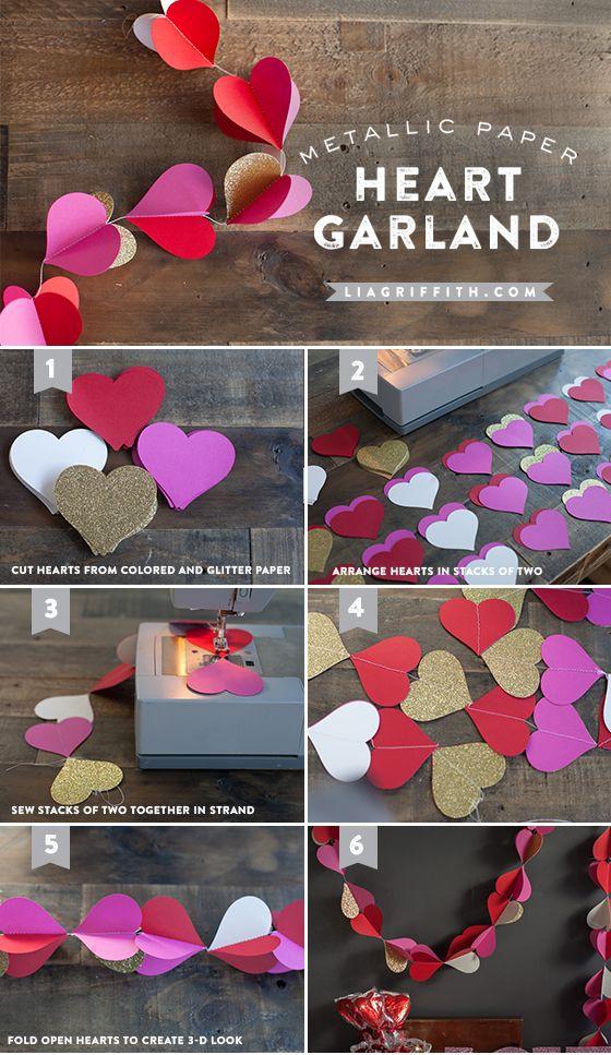 Metallic paper heart garland tutorial