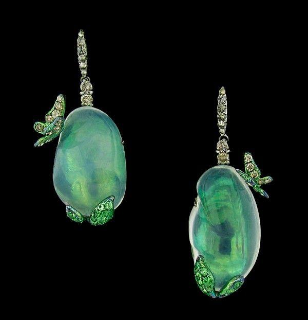 Arunashi Water Opal Butterfly Earrings - now that is how opals should be showcased.  #opalsaustralia #opalsau #opaljewellery