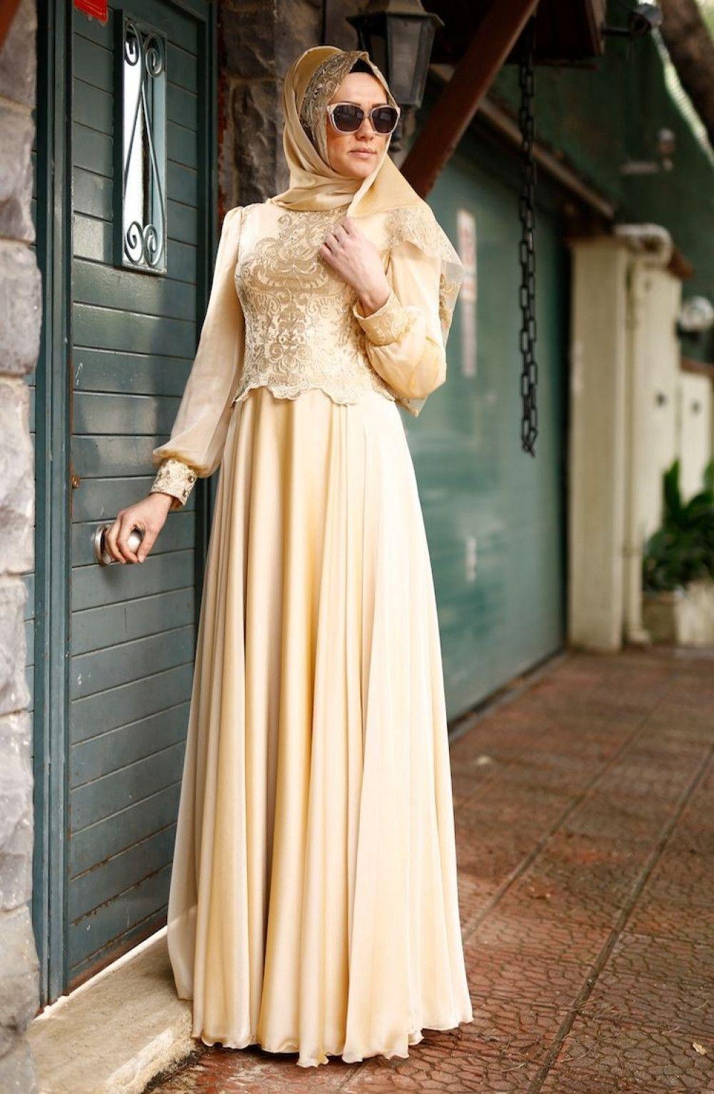 Sefamerve Tesettur Gold Dantelli Abiye Elbise Modelleri Moda Tesettur Giyim Elbise Modelleri Elbise Maksi Elbiseler