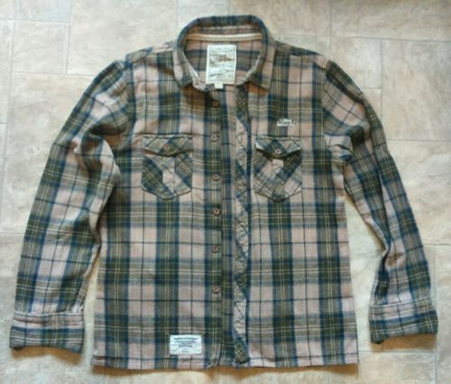 Weird fish mens brushed flannel long #sleeve #cotton check #shirt m