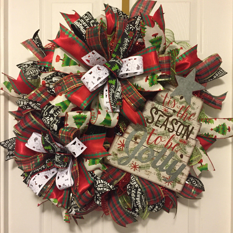 Front Door Wreath , Tis The Season To Be Jolly,