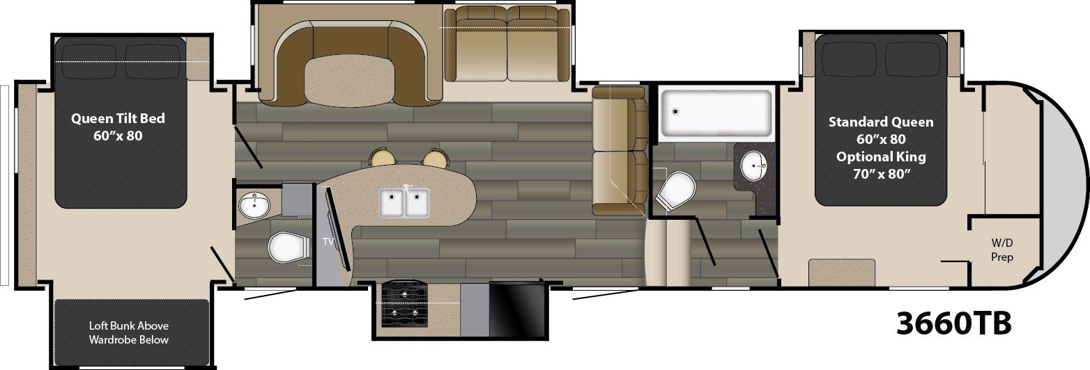 The Gateway 3660tb Offers Two Full Bedrooms With Queen Beds With An Option For A King Sized Bed In The Master Suite A Bre Rv Camping World Rv Sales 5th Wheels