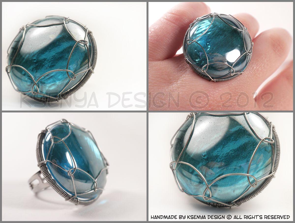Côte d\'Azur - unique wire-wrapped ring. #jewelry #ksenyajewelry ...