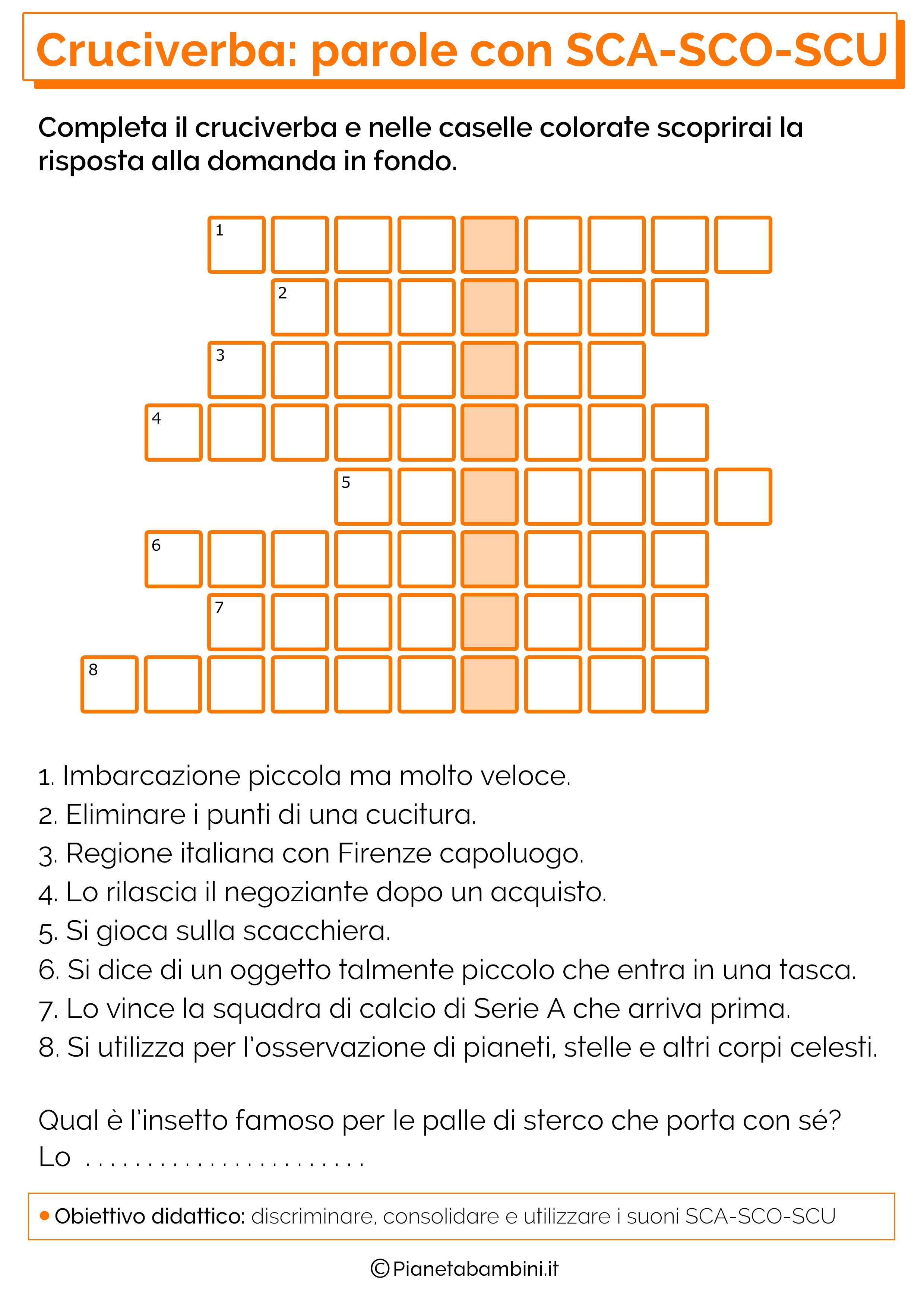 23 cruciverba per bambini di 6 7 anni su ortografia e for Dettato con sca sco scu
