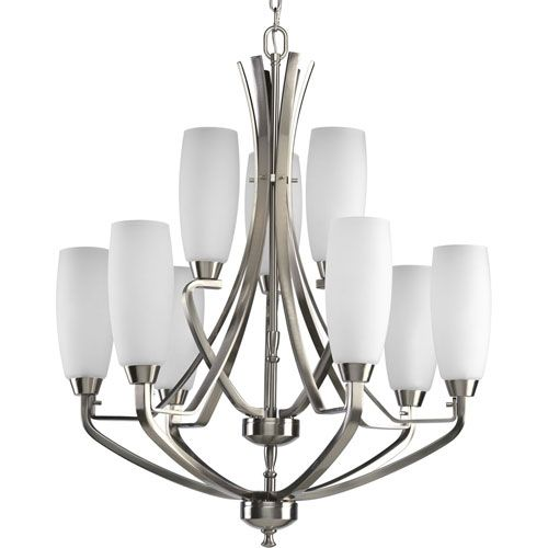 Wisten brushed nickel nine light chandelier with etched glass wisten brushed nickel nine light chandelier with etched glass mozeypictures Image collections