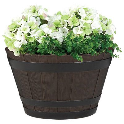 21 whiskey barrel planter at big lots 20 ea maybe i can convert these into my rustic. Black Bedroom Furniture Sets. Home Design Ideas