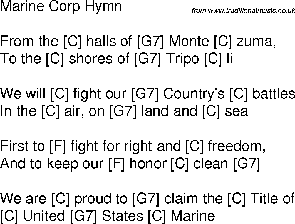Lyric marine corps hymn lyrics : guitar hymns | Old time song lyrics with guitar chords for Marine ...