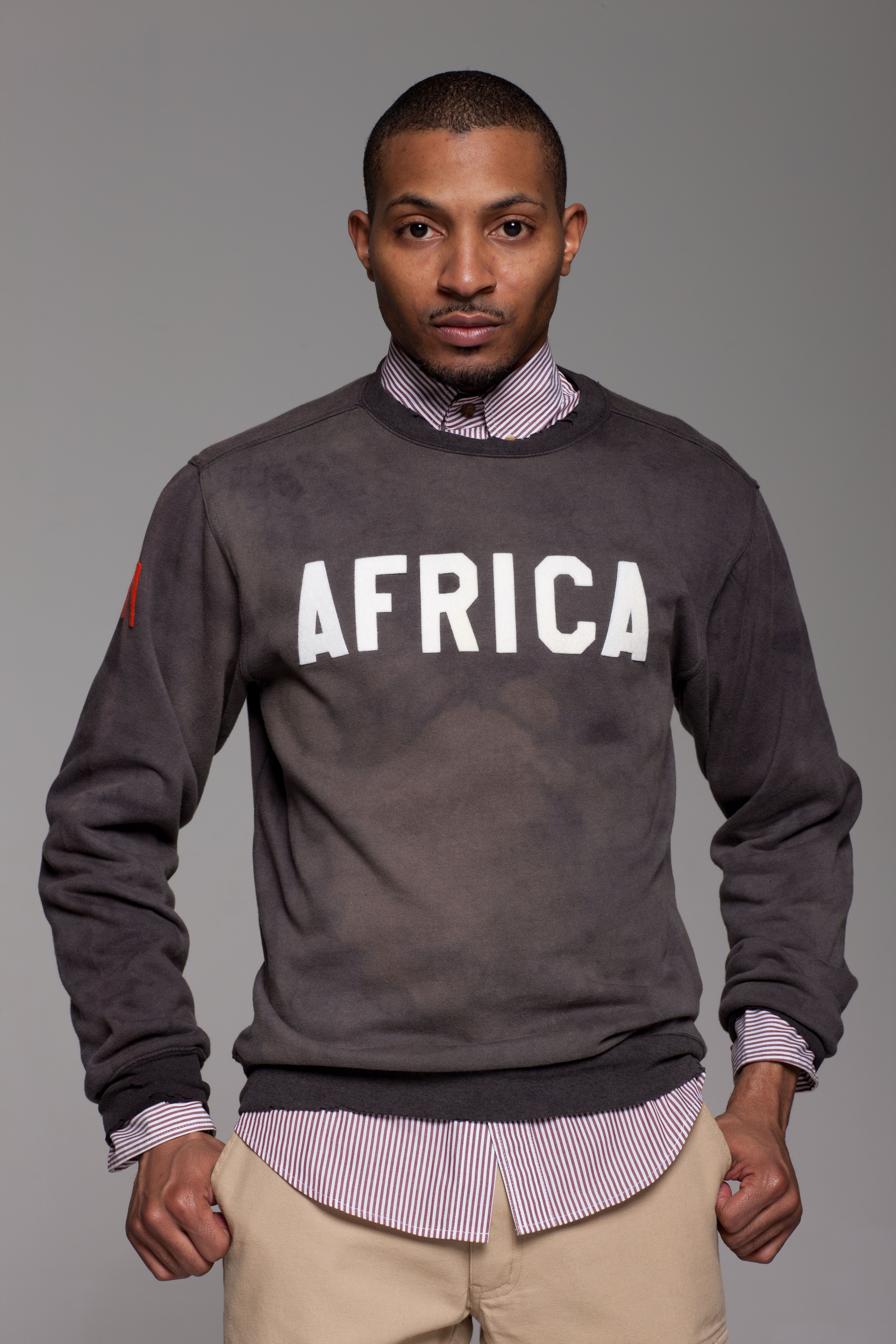 Africa Crewneck Striped Button Up Long Sleeve Tshirt Men Sweatshirts Mens Tops [ 5616 x 3744 Pixel ]