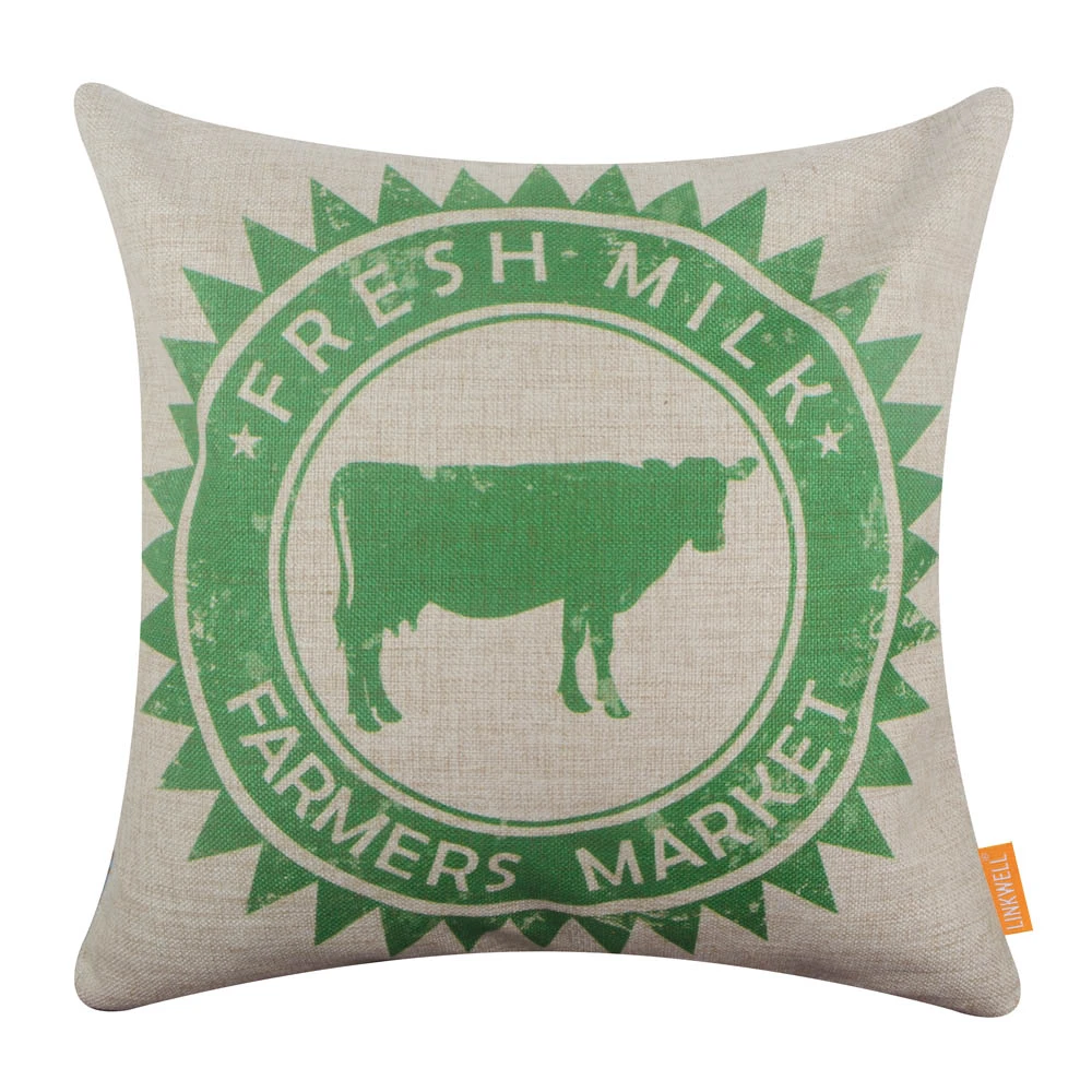 Green Farmers Market Cow Pillow Cover In 2020 Pillows Throw Pillow Covers 18x18 Pillow Covers