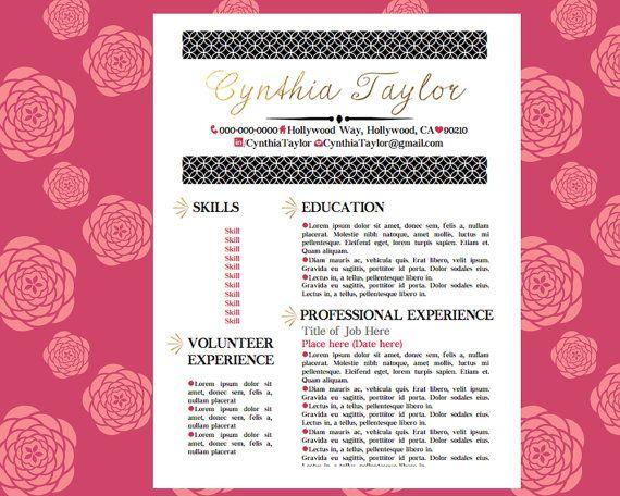 Gold Pink Black Resume Girly Resume Pinterest By Careergirldesigns Cover Letter Tips Cover Letter For Resume Resume Templates