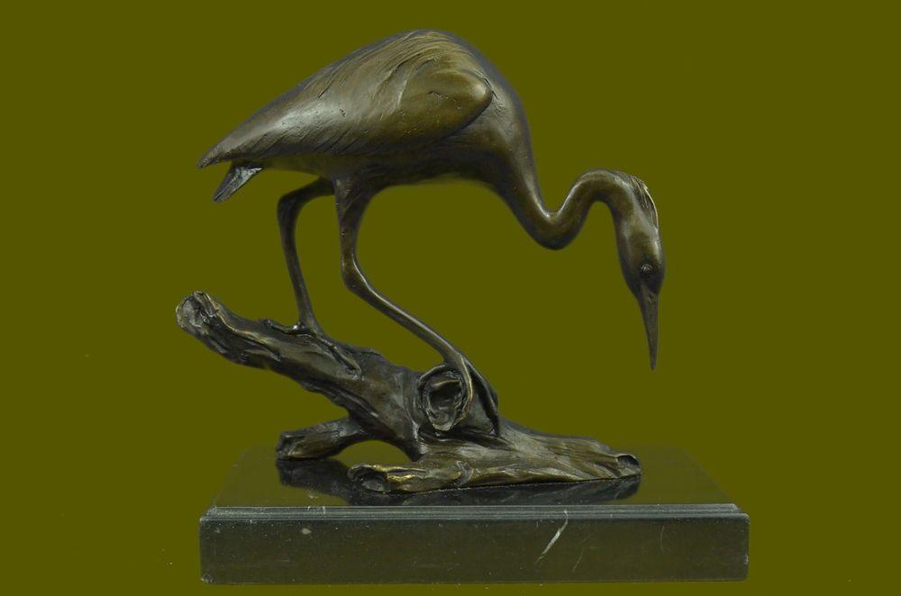 Rare Exotic Bird Crane Bronze Sculpture Marble Base Statue Figurine ...
