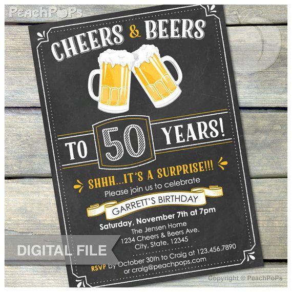 Surprise Th Birthday Chalkboard Invitation Cheers  Beers Invite