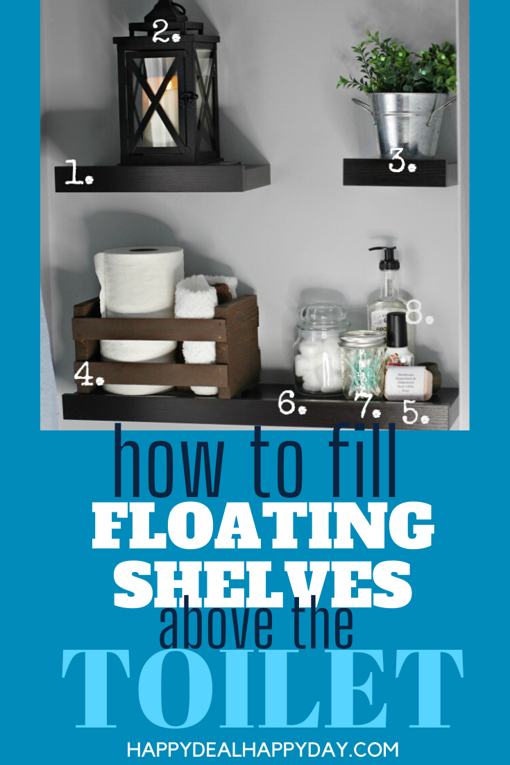 Don't waste the space above your toilet from an easy farmhouse decor idea!  Grab some floating shelves and I'll show you exactly how I filled them for this look!  #farmhousedecor #bathroomdecor #abovethetoilet #floatingshelves #frugaldecor #easydecor