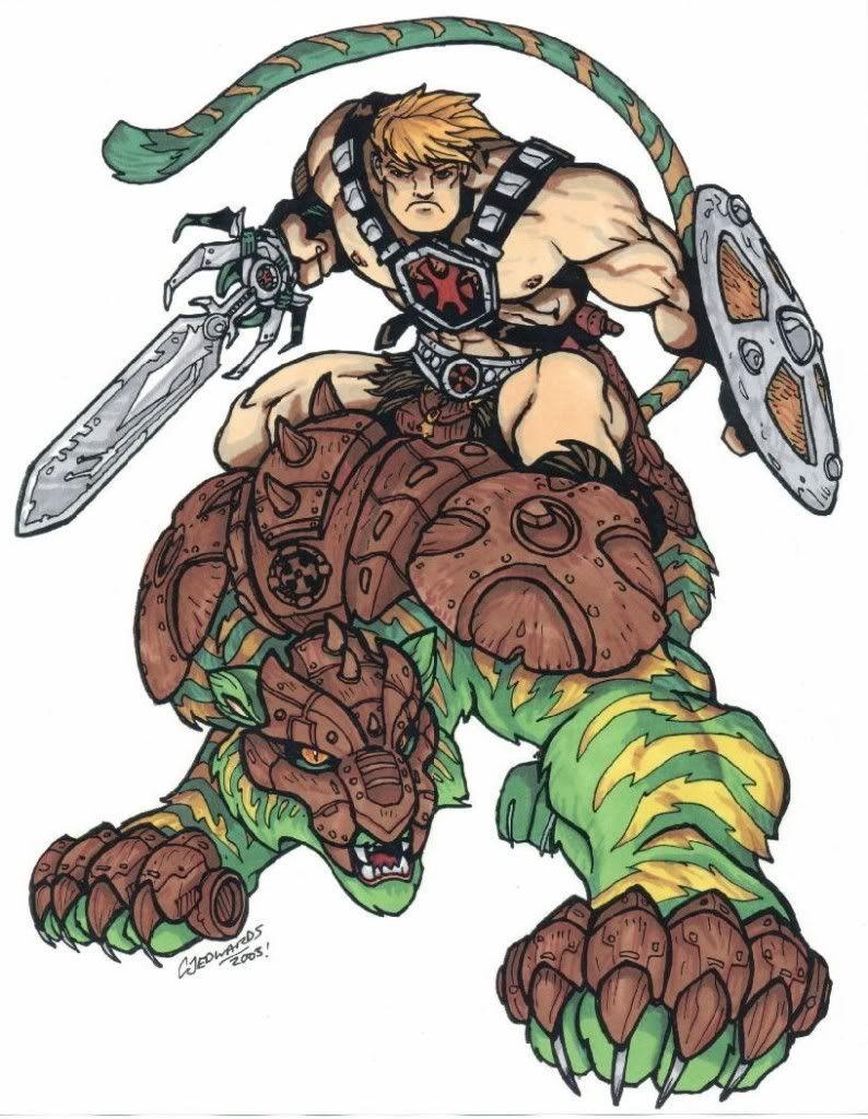 He-Man and Battle Cat - MOTU (2003) by ~CJEdwardsArt on deviantART