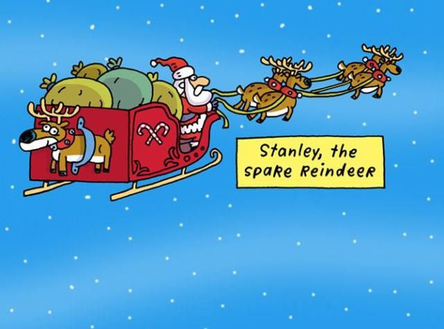 Stanley The Spare Reindeer Funny Christmas Cartoons Christmas Memes Funny Funny Christmas Pictures