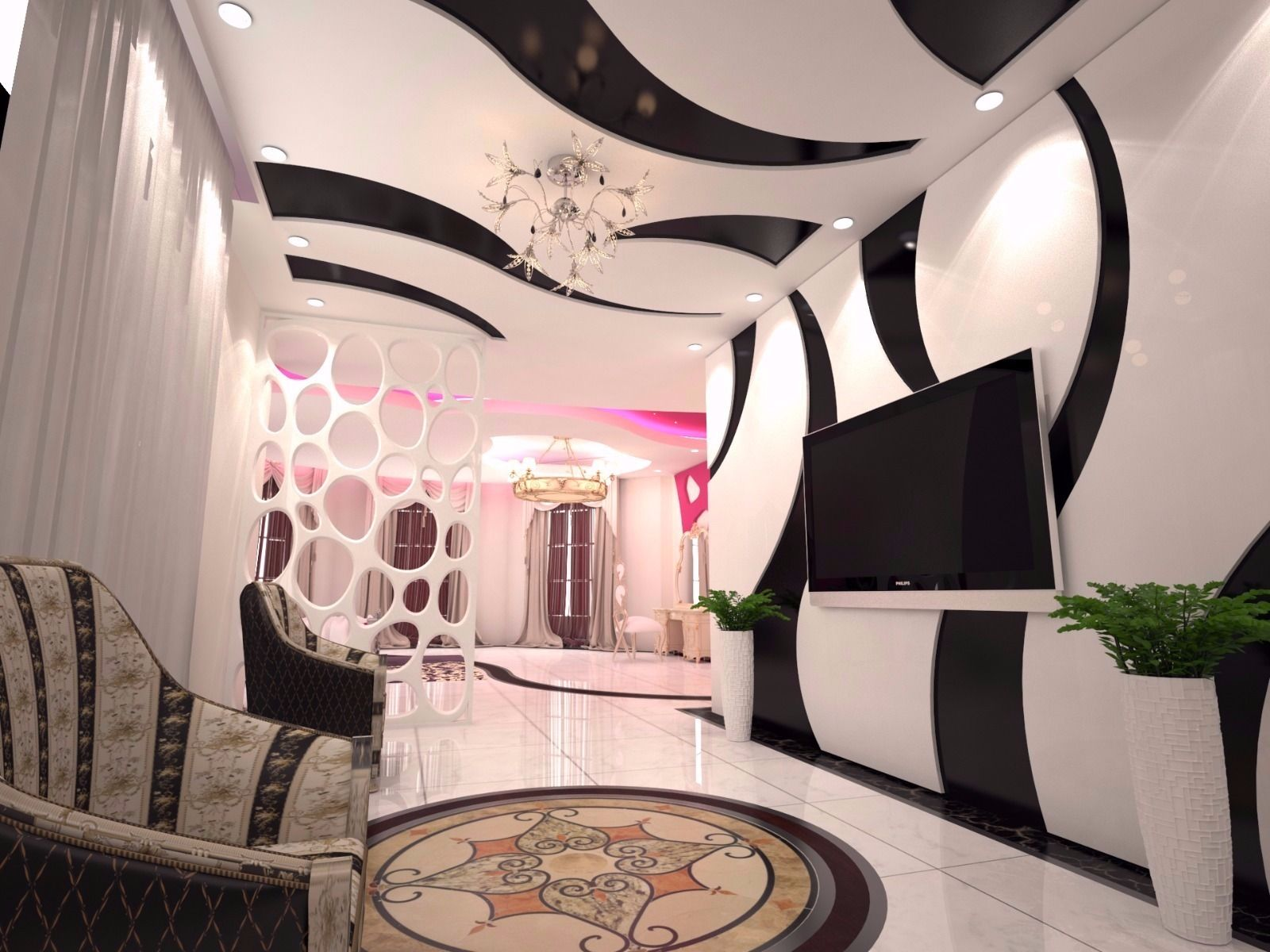 Modern Ceiling and TV Wall Design