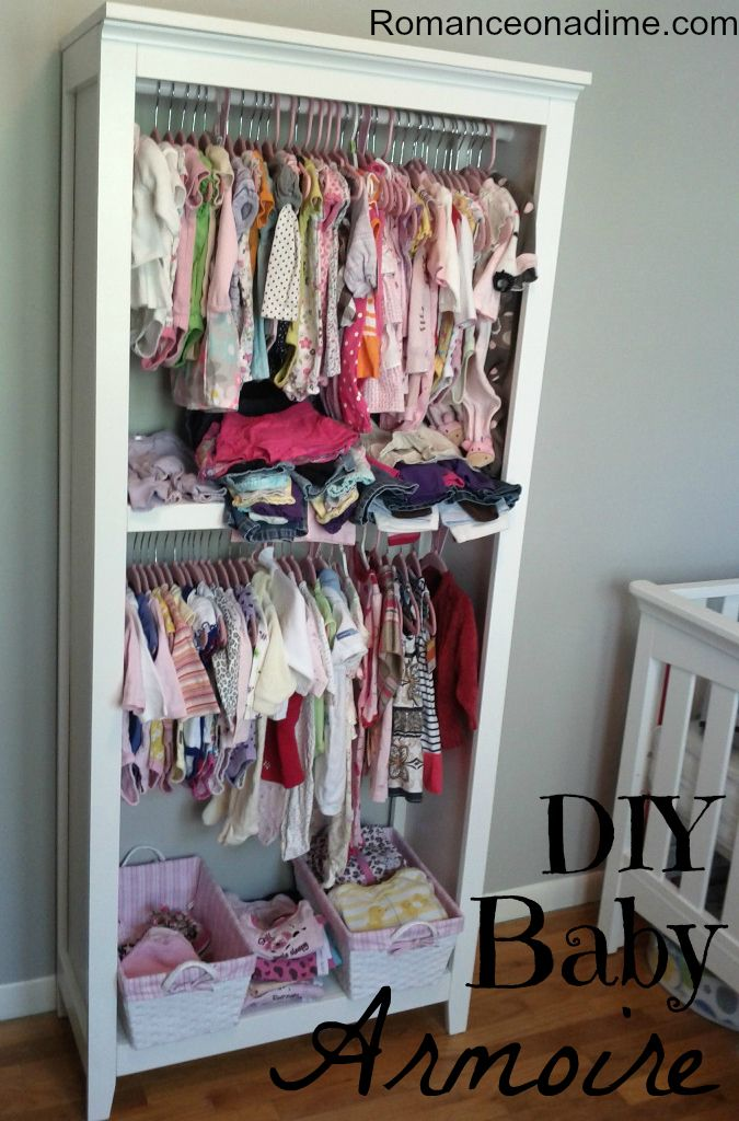 DIY Baby Armoire...Turn A Bookcase Into An Armoire. Genius!