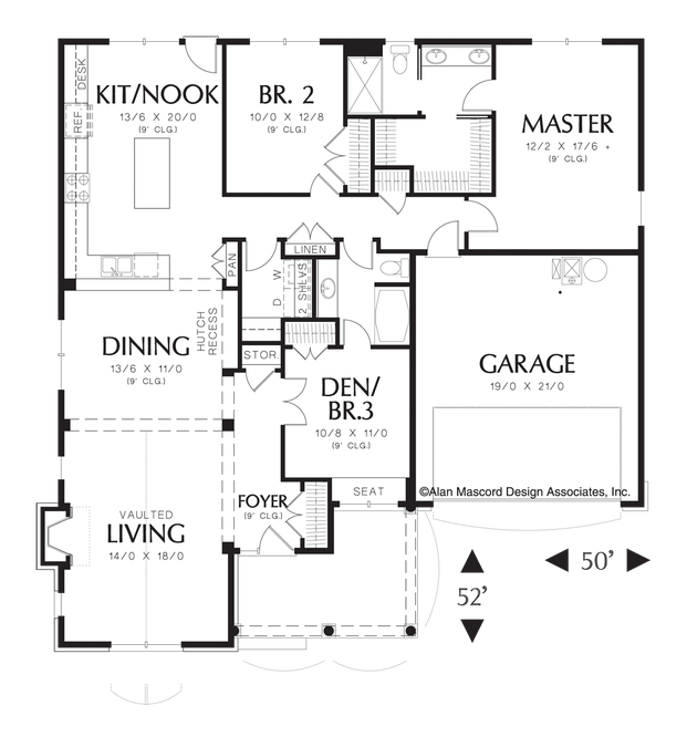 Image For Odell Single Story Cottage Plan With Two Car Garage Main Floor Plan House Plans Vacation House Plans Farmhouse Style House Plans