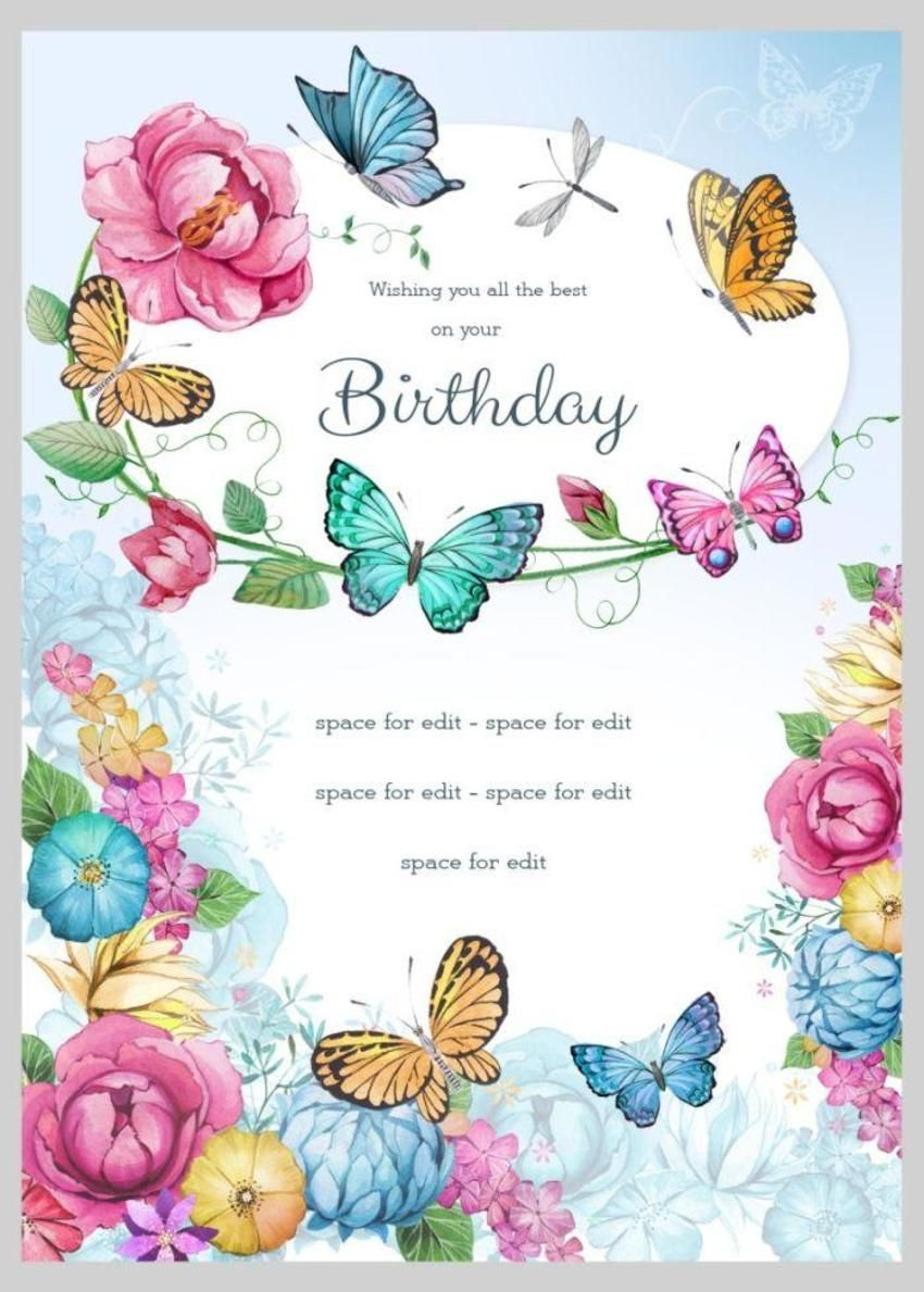 Birthday Floral Butterflies 4 Birthday wishes flowers