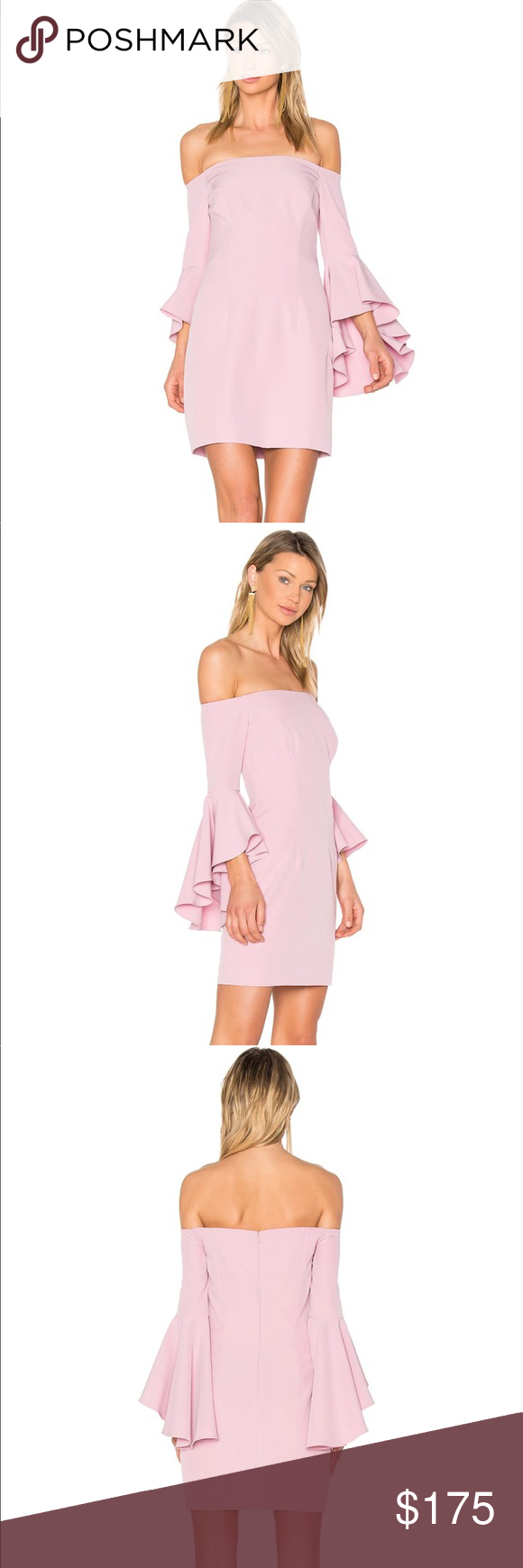 a09213fdfe Milly Selena Mini Dress Petal Pink Flared Sleeves Poly blend - 90% polyester  10% elastane Made in USA with imported fabric from Italy Dry clean only  Fully ...