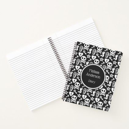 Black  White Cute Skull Goth Horror Pattern Name Notebook
