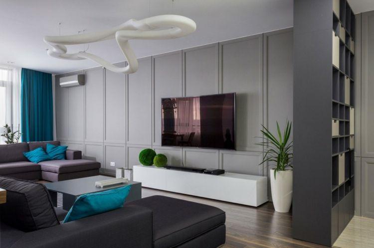 Deko in Blau in einer modernen Apartment Inneneinrichtung #apartment - inneneinrichtung
