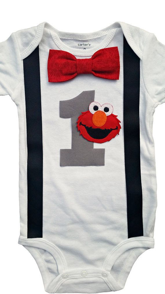 Want The Perfect Outfit For Your Little Man On His Big Day Try This Carters Brand Onesie With An Appliqued Elmo Bodysuit Face And A Birthday Number 1 Or 2