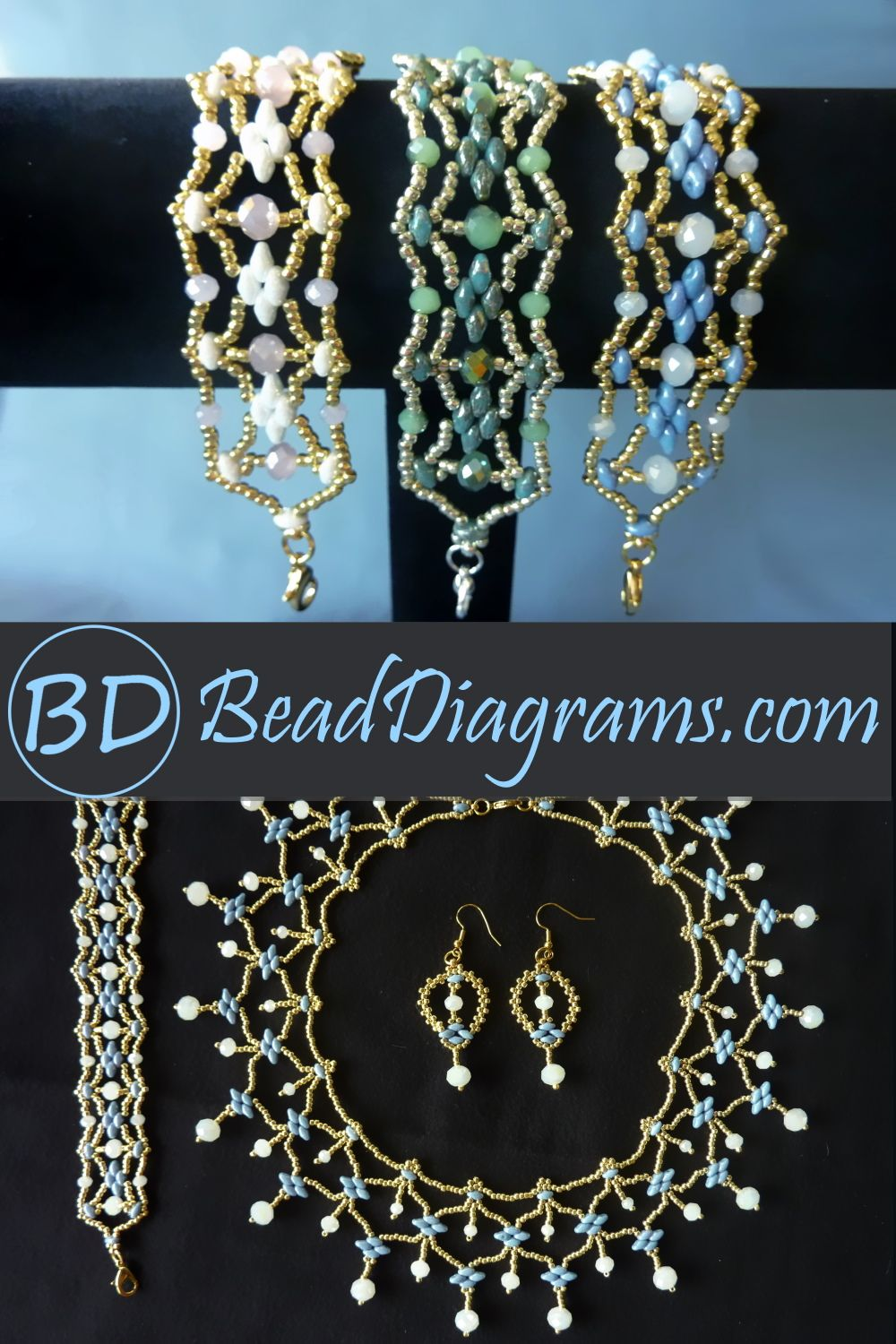 link to free video tutorials bezeled stones joined and decorated Czarina Bracelet instant download peyote stitch pattern easy to size