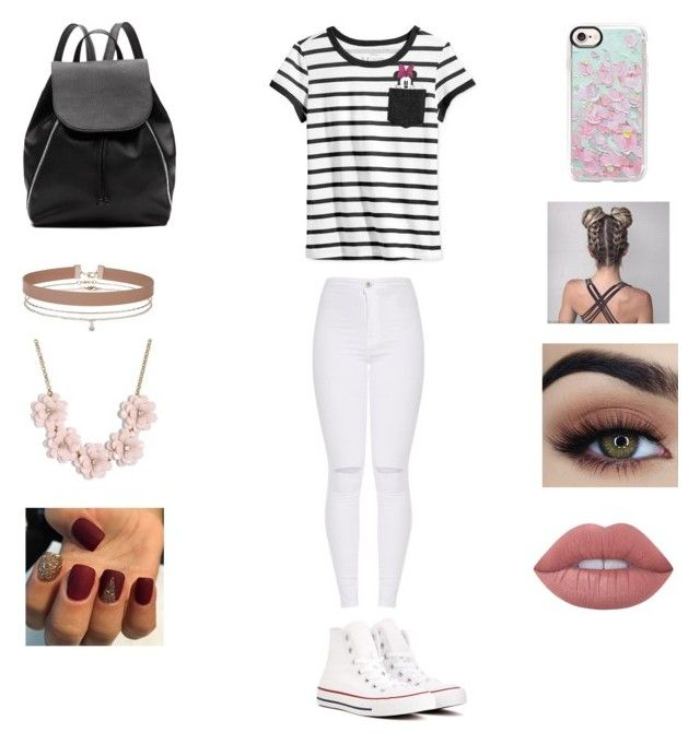 """""""Going to Disney World"""" by qveenkenya16 ❤ liked on Polyvore featuring Disney, Converse, Witchery, Miss Selfridge, J.Crew, Casetify and Lime Crime"""
