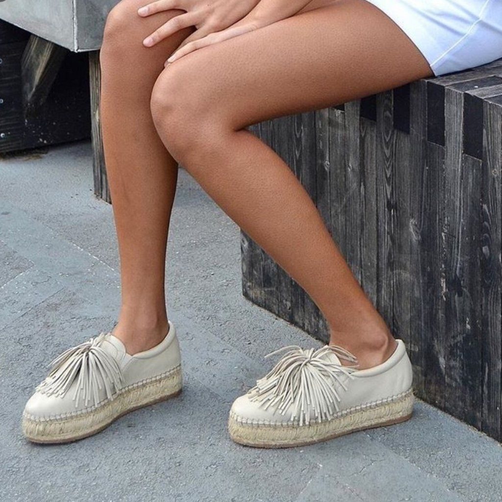 SOFT WHITE RUBBER SOLE NEW BEIGE FLAT POM POM TRIM CASUAL SHOES ALL SIZES