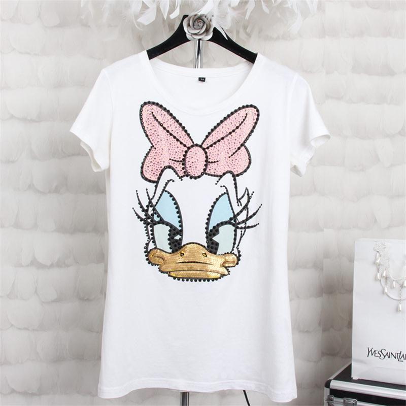 8d3b31f2f815 2016 New Summer Style Fashion Diamond Sequin Donald Duck T Shirts Women  High Quality Cotton Slim Casual Women T-Shirt Tops S-4XL