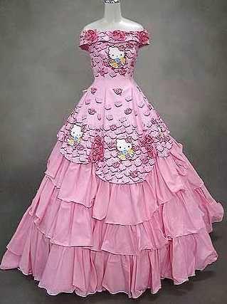 Hello Kitty pink wedding dress
