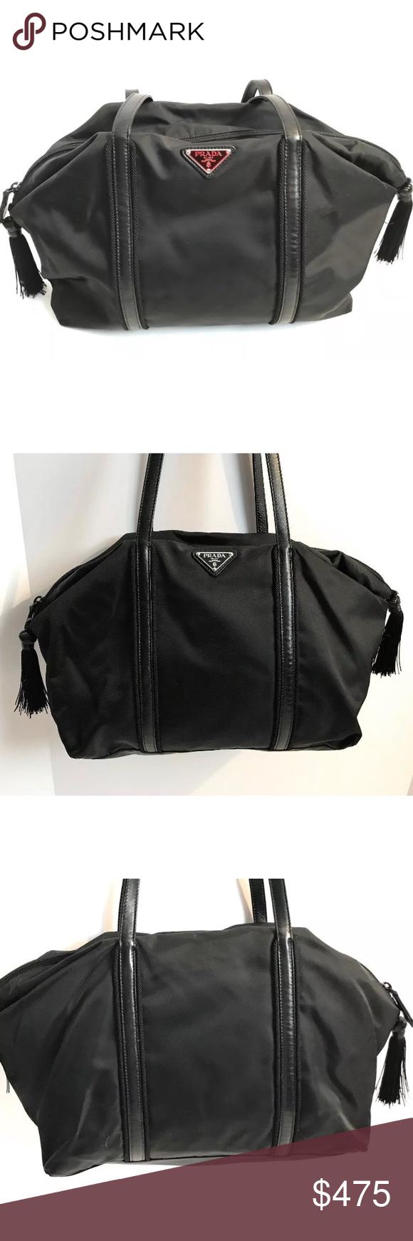 f4df652980d6f3 PRADA Tessuto Nylon Tassel Satchel Purse Bag Black Authentic PRADA Tessuto  Nylon Tassel Satchel/ Duffel