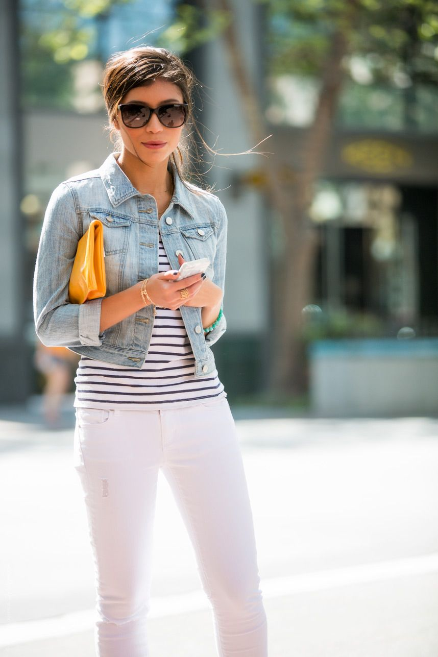 Spring Denim on Denim Outfit | White pants outfit, White pants and ...