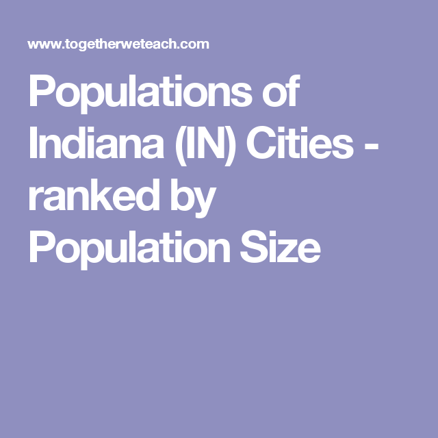 Populations of Indiana (IN) Cities - ranked by Population Size