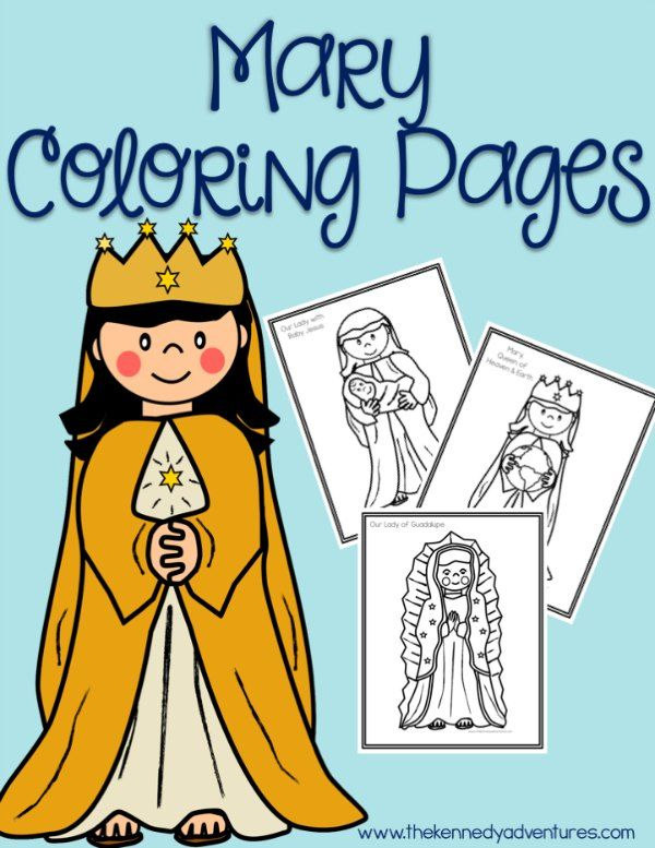Mary Coloring Pages for Catholic Kids | Religious education, Free ...