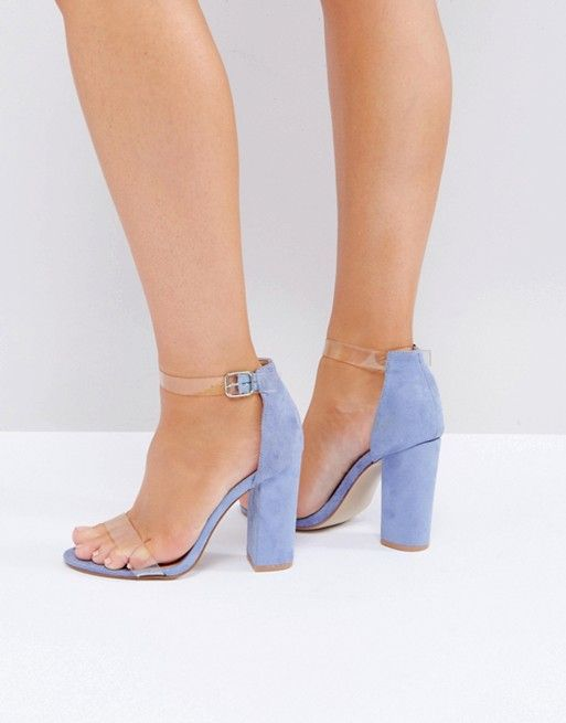 Truffle Collection Wide Fit Perspex Block Heeled Sandals eFHR5TD4r1