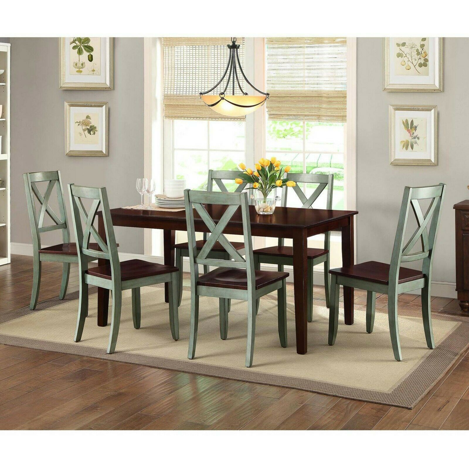 Details About Dining Room Set Farmhouse Kitchen Tables And Chairs