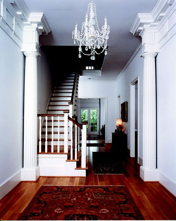 Greek Doric Fluted Columns Hallway With Stairs. Residential, Interior  Photography: Michael McKelvey Www.columns.com