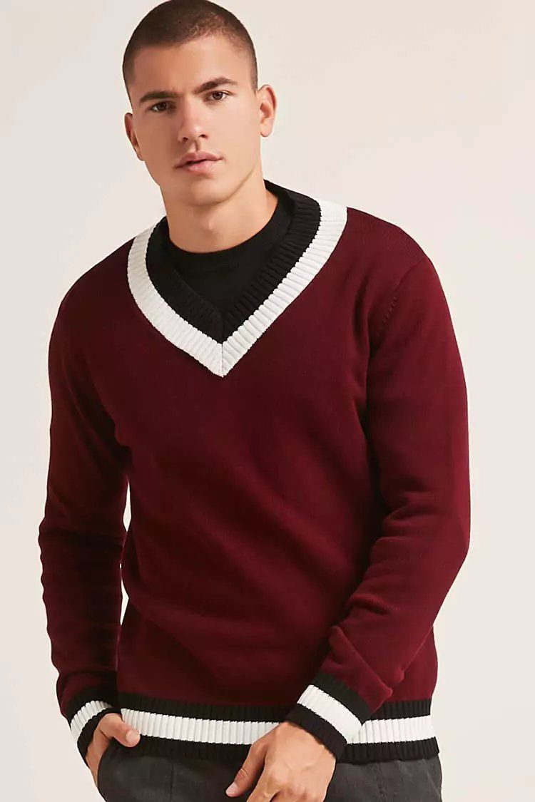 cf94f3301503 Product Name:Contrast Striped V-Neck Sweater, Category:mens-main ...